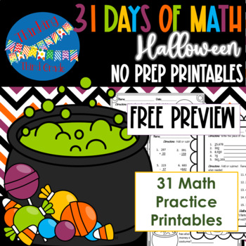 31 Days of Halloween Math PREVIEW - 3rd and 4th grade
