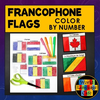 French Speaking Countries Flags:  Color by Number
