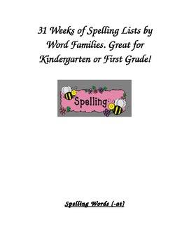 31 Kindergarten or First Grade Spelling Lists