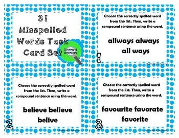 31 Misspelled Words Task Cards