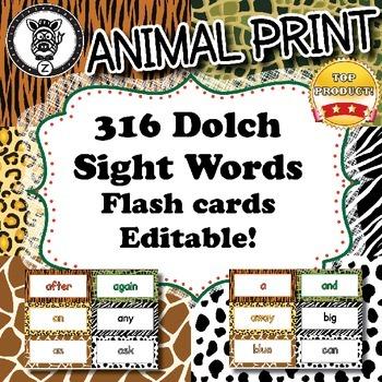 316 Dolch words / Flash cards  - Animal Print - ZisforZebr