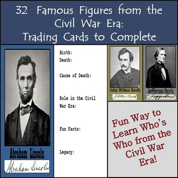 32 Famous Figures from the Civil War Era: Trading Cards to