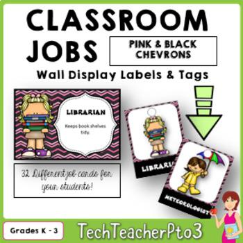 32 Classroom Jobs + Editable Templates *** Pink and Black