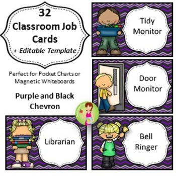 32 Classroom Jobs + Editable Templates *** Purple and Blac