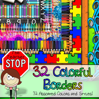 32 Colorful Borders {The Teacher Stop}