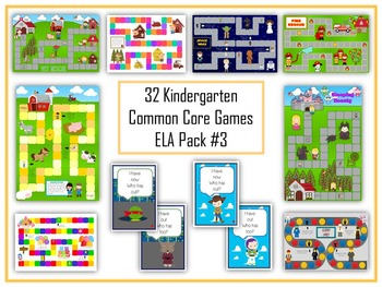 32 ELA Kindergarten Folder Games - Common Core Pack #3 - W