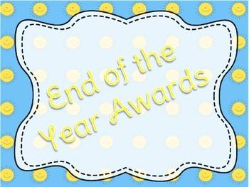 32 End of Year Awards Editable Customizable Student Awards