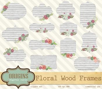 32 Floral Wood Frames Clipart