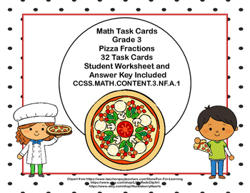 32 Math Task Cards- Grade 3-Pizza Fractions-CCSS.MATH.CONT
