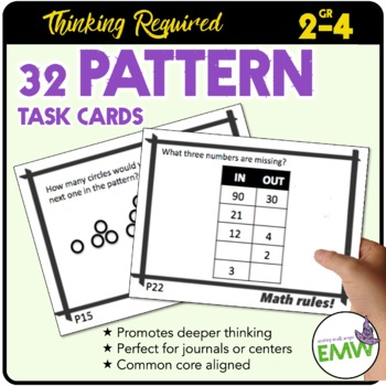 Pattern Task Cards - Numbers, Shapes/Geometric, In/Out, Real-Life
