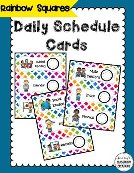 33 Daily Classroom Schedule Cards  - Colorful Rainbow Them