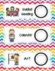 33 Daily Classroom Schedule Cards  - Rainbow Chevron Theme