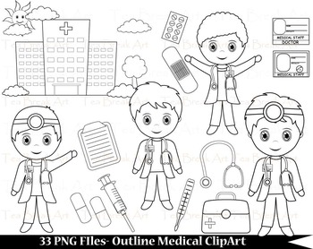 33 PNG Files- Outline Cute Little Boy Doctors - Digital Cl