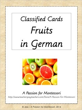 34 Fruit Classified Cards in GERMAN, Montessori three part