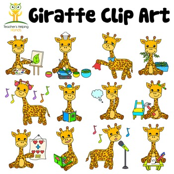 34 Giraffe clip art images in educational settings - Color
