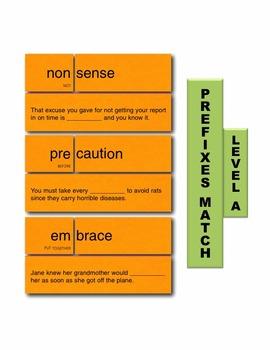 Prefixes A Match Manipulatives & Task Cards