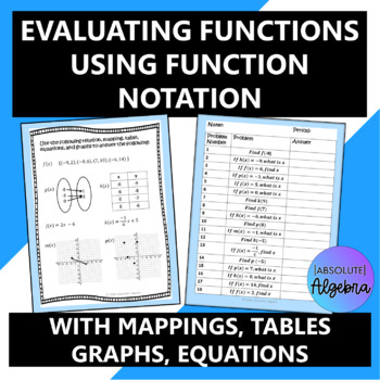 35 Function Questions: Ordered Pairs, Tables, Graphs, Mapp