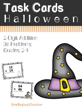 36 Halloween Themed 2 Digit Addition Task Cards with Carry