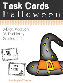 36 Halloween Themed 3 Digit Addition Task Cards with Carry