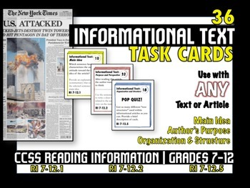 """36 """"Informational Text"""" Common Core Task Cards - ANY Text"""