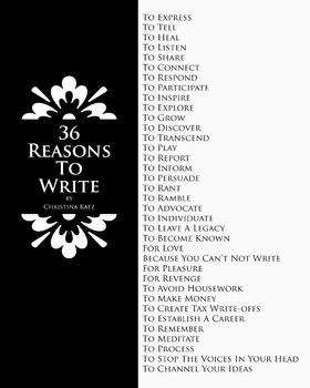 36 Reasons To Write 8 x 10 Classroom Poster