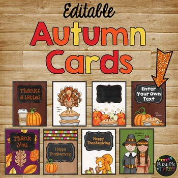 36 Thanksgiving & Autumn Notes, Thank You Cards {Editable}