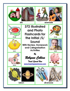 372 Illustrated and Photo Flashcards for the Initial /S/ S