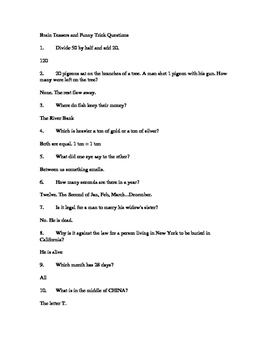 38 Brain Teasers and Funny Trick Questions ( Middle and Hi