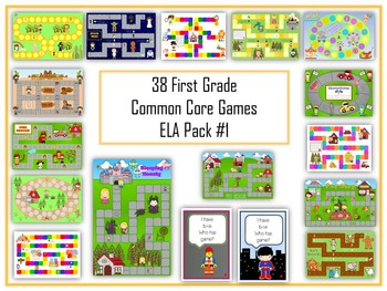 38 ELA First Grade Folder Games - Common Core Pack #1 -  W