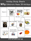 38 Holiday Study Sheets: Why Do We Celebrate this Holiday?