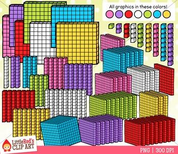 3D Base Ten Blocks Clipart