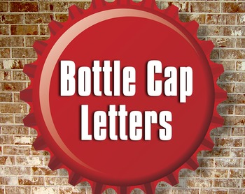 3D Bottle Cap Alphabet - Upper and Lower Case - Red and Wh