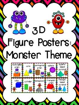 3D Shapes (3D Figure) Posters: Monster Theme