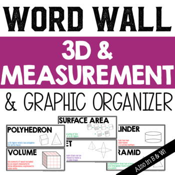 3D Figures and Measurement Vocabulary Word Wall and Graphi
