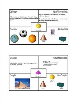 3D Geometry Shapes Foldable with Frayer Model Graphic Organizer
