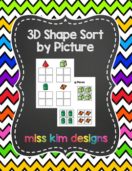 3D Shape Sort by Picture File Folder Game for Early Childh