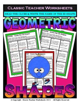 Guess the 3D Shapes-Read Clues & Write Shape Names Grades