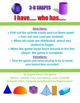 3D Shapes- I have... Who Has... game