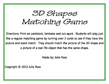 3D Shapes Matching Game