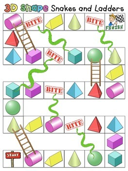 3D Shapes Snakes and Ladders
