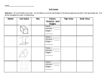 3D Shapes Table/Graphic Organizer