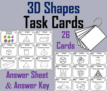 3D Shapes Task Cards/ 3D Shapes Activity 3rd 4th 5th 6th Grade