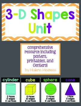 3D Shapes Unit {with Posters, Activities and Centers!}