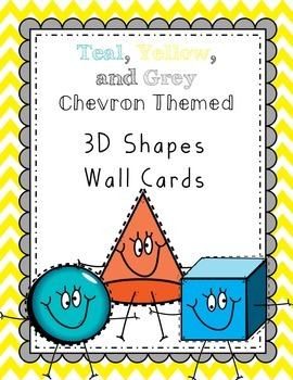 3D Shapes Wall Cards - Teal.Grey.Yellow Chevron