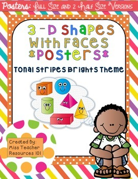 3D Shapes with Faces Posters - Full and Half Size {Bright