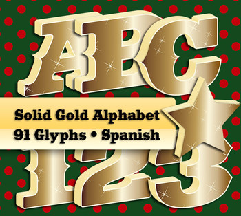 3D Solid Gold Alphabet 91 Glyphs • Spanish Letters • Hi-Re
