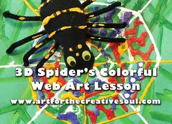 3D Spider's Colorful Web Art Lesson