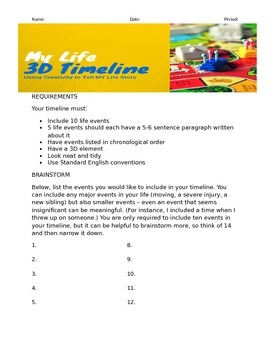 3D Timeline Assignment Instructions, Brainstorm, and Rubric
