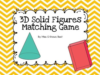 3D Shapes/Solid Figures Matching Game
