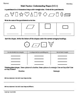 3.G.1)Understand Shapes -3rd Grade Common... by Tonya Gent ...